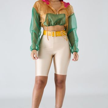 Color Sheer Crop Jacket - Green