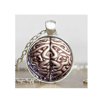 Brain Symbol Psychology Cabochon Pendant Necklace