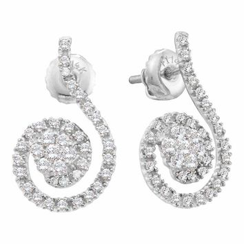 14kt White Gold Women's Round Diamond Curled Flower Cluster Earrings 1-2 Cttw - FREE Shipping (US/CAN)
