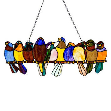 9.25inch H Birds on a Wire Stained Glass Window Panel