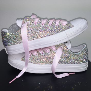 All Star Mono White Converse Bedazzled In AB Crystals Baby Pink Laces