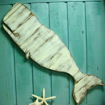 Whale Sign Beach House Decor White Weathered Wood Wooden Whale