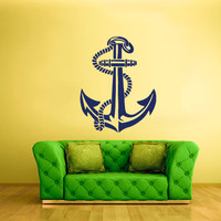 rvz1697 Wall Decal Vinyl Sticker Anchor Sea Ocean Ribbon Ship Cable Rope Boat