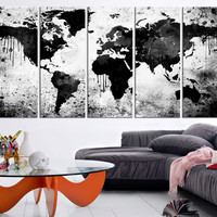 Grayscale Infiltrated WORLD MAP Canvas Print Art - Large Wall Art Watercolor World Map Canvas Art Print - Large Map Wall Art Canvas-MC57