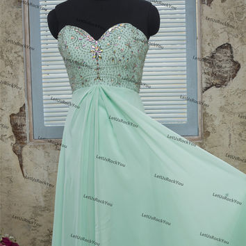 Sweetheart Neck Sequins Beaded Long Mint Bridesmaid Prom Dresses/prom dresses/prom dress/bridesmaid dresses/bridesmaid dress/evening dress