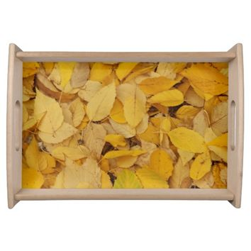 Golden Leaves Floral Serving Tray