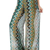 """ST. TROPEZ"" WIDE LEG PRINTED PALAZZO PANTS BOHO ZIG ZAG STRIPED LINED $69"