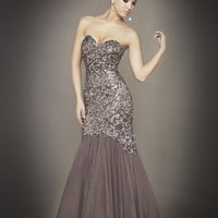 Grey & Gunmetal Sequin & Tulle Strapless Sweetheart Mermaid Couture Gown - Unique Vintage - Homecoming Dresses, Pinup & Prom Dresses.