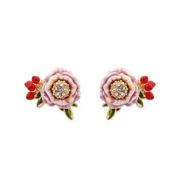 Monet Garden Series Pink Flower Red Fruit Enamel Stud Earrings Women brincos 2017 Fashion Animale Flower Jewelry Orecchini Donna