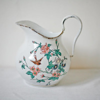 antique enamel pitcher, vintage French decor enamelware rustic country white shabby flower vase watering can laundry room decor cottage chic