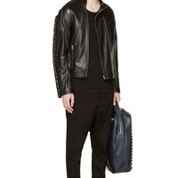 Hood By Air Black Leather Parachute Hockey Jacket