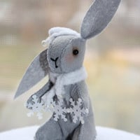 Bunny Felt Little rabbit Autumn easter bunny snowflakes felt decoration plush gray felt bunny for the home for her Back To School