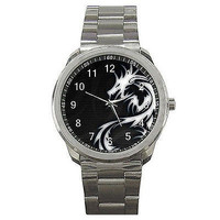 Black and White  Dragon or Celitc Dragon on a Mens Metal Sports Watch. ..