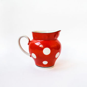 Cute Vintage Polka Dot Cream Jug / 1970's Red and White Porcelain Soviet Saucer / Pitcher