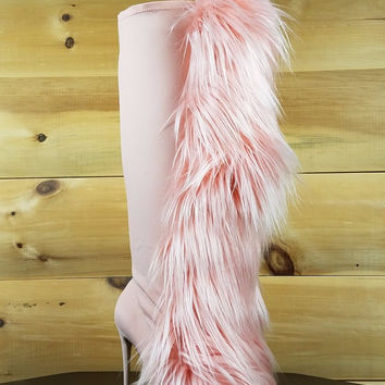 "Nelly Furry Bank Roll Pink Blush Knee Boots - 4.5"" Heels"