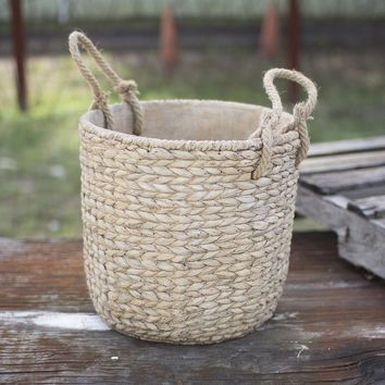 Large Braided Cement Planter w/Jute Handles ~ Natural
