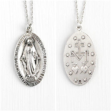 Vintage Miraculous Medal - Sterling Silver Mother Mary Pendant Necklace - Religious Large Double Sided Oval Repousse Symbolic Jewelry Charm