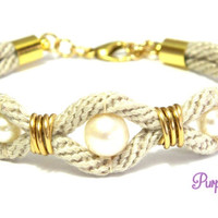 AZALEA Wire wrapped Kumihimo Bracelet with Pearls, Braided Rope Bracelet with White Freshwater Pearls - Beige