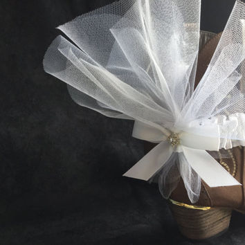 Boot garter cuff  country wedding white tulle crystal wedding boho shoe accessory