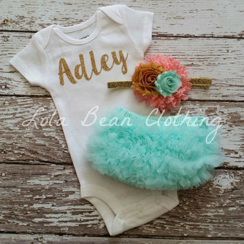 Baby Girl Take Home Outfit Newborn Baby Girl Custom Onesuit Bloomers Headband Set Mint Coral Mustard & Gold
