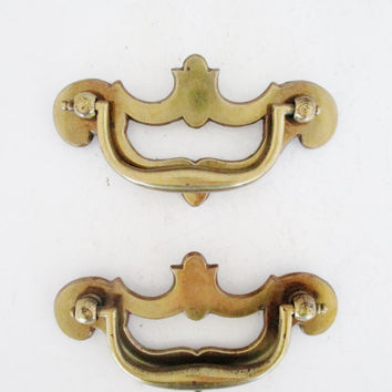 Drawer Handles Set of Two 2 Chippendale Style Drawer Handles Antique Drawer Handles Dresser Hardware Salvaged Hardware Vintage Drawer Pulls