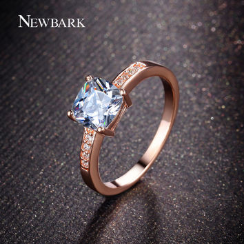 NEWBARK Rose Gold Plated Ring Geometric Cushion Cut 1.25ct CZ Diamond Jewelry Prong Setting 2 Colors Rings For Women Gift