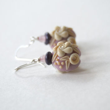 Rose Earrings, Lampwork Earrings, Floral Earrings, Glass Bead Earrings, Mother's Day Jewelry