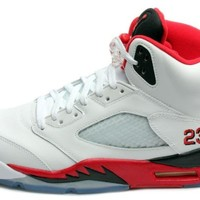 Nike Mens Air Jordan Retro 5 Basketball Shoes White/Fire Red/Black 136027-120 Size 10.5