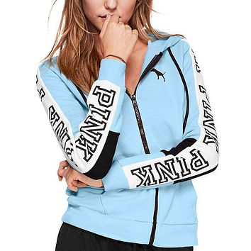 Victoria's Secret Pink Letter Print Fashion Women Zipper Hoodie Sweater Stitching And Sky Blue I