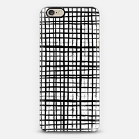 Essie - Black and White grid, grid, 80s, painterly, ink, artist designed case iPhone 6 case by Charlotte Winter | Casetify