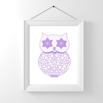 Lavender Owl Baby Shower Decor, Kids Room Decor, Owl Decor, Nursery Owl Print