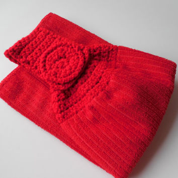 Red Crochet Hanging Towel Topper - Red Kitchen Towel - Crochet Topped Towel - Handmade Crochet - Ready to Ship