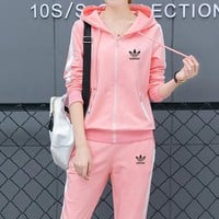 """Adidas"" Women Casual Multicolor Stripe Hooded Long Sleeve Trousers Set Two-Piece Sportswear"