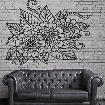 Decor Living Room Wall Sticker Vinyl Floral Openwork Pattern Cutwork Unique Gift (n265)