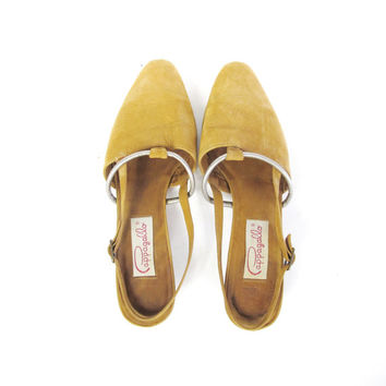 80s Slingback Flats Brown Leather Pointy Toe Flats Nubuck Suede Flats Boho Flats Metallic Pewter Low Heel Strappy Cut Out Pumps (Size 8.5)