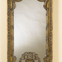 Carved Burnished Honey Finished Mirror with Gold Gilded Accents with Floral Motif by La Barge - The Online Furniture Store