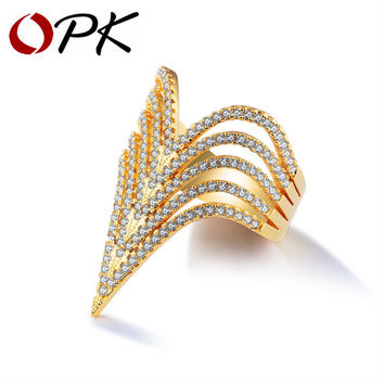 OPK Vintage Multi V Shape Rings For Women Gold Color Micro Paved Gorgeous Zirconia Statement Party Dating 2017 Jewelry KJ051