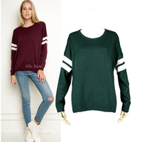 Stylish Round-neck White Stripes Long Sleeve Pullover Knit Women's Fashion Tops [4918965508]