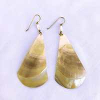 Vintage Mother of Pearl Dangle Earrings, Boho Earth Tone Artisan Dangle & Drop Earrings, Beach Lover Statement Earrings