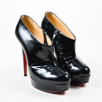 HCXX Black Christian Louboutin Patent Leather   Moulage   Ankle Booties
