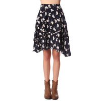 Navy blue double layer midi skirt in floral print