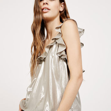 Laminated strappy top with neckline ruffle - Tops - Bershka Germany