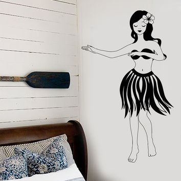 Vinyl Wall Decal Hawaiian Girl Hula Dancing Party Beach Style Aloha Stickers Unique Gift (1384ig)