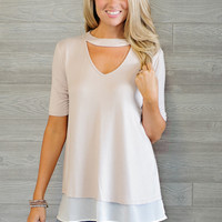 * Blondie Keyhole Top With Chiffon Detail  - Blush