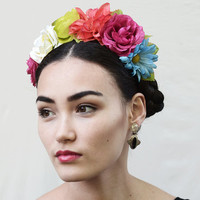 Multi Color Frida Kahlo Flower Crown - Rainbow, Mexican, Dia de los Muertos, Day of the Dead, Flower, Headband, Floral Crown, Fiesta, Crown