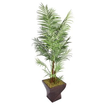 "86"" Artificial Areca Palm Tree in 17.5"" Black/Bronze Fiberstone Planter"