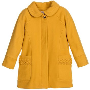 Chloe Girls Fancy Yellow Wool Coat w/ Braided Details