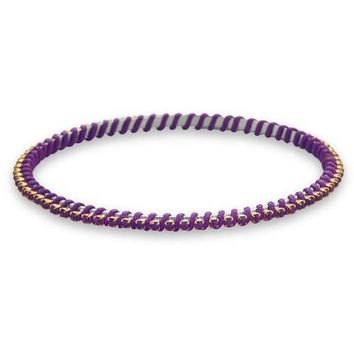 Two Tone Fashion Bangle Bracelet with Purple Crystal and Purple Thread Wrap