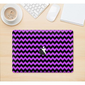 "The Black & Purple Chevron Pattern Skin Kit for the 12"" Apple MacBook"
