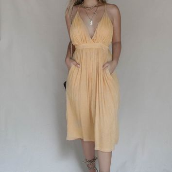 Dear You Yellow Stripe Plunging Midi Dress